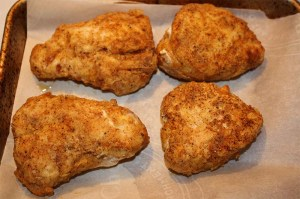 double dipped chicken ready to bake