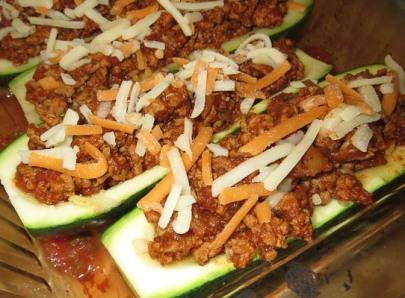 Oven ready Taco Zucchini Boats