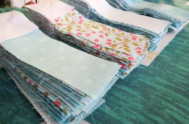 Squares attached to the strips.