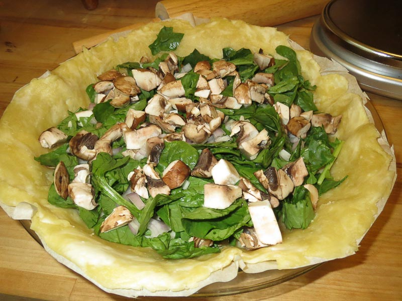 Quiche Base with Spinach, Cremini Mushrooms, and Shallot