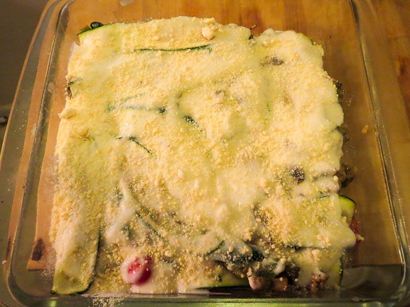 Zucchini Lasagna ready for the oven