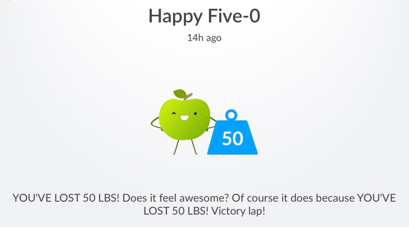 50 pounds lost message