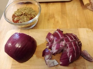 Spices and red onion