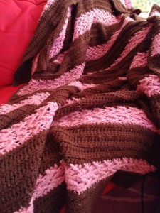 Herringbone Afghan in Pink and Brown
