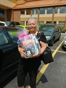 Dianne with her gift package from Barbara Devlin